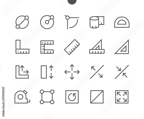 Fototapeta Measure Pixel Perfect Well-crafted Vector Thin Line Icons 48x48 Ready for 24x24 Grid for Web Graphics and Apps with Editable Stroke. Simple Minimal Pictogram obraz