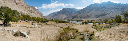 Within the Wakhan Corridor, Afghanistan, view from the fields Wallpaper Mural