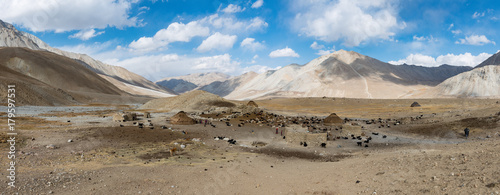 Canvas Print View over a yurt camp, summer in the Afghan Wakhan