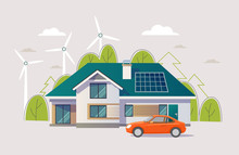 Green Energy An Eco Friendly Traditional And Modern House With Car