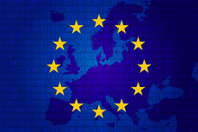 Flag Of European Union And Map...