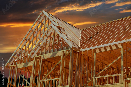 Obraz wooden roof construction, symbolic for home, - fototapety do salonu