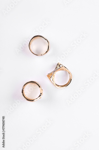 Fotografia, Obraz Three bijouterie rings, top view