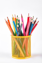 Colored Pencils In Metal Holde...
