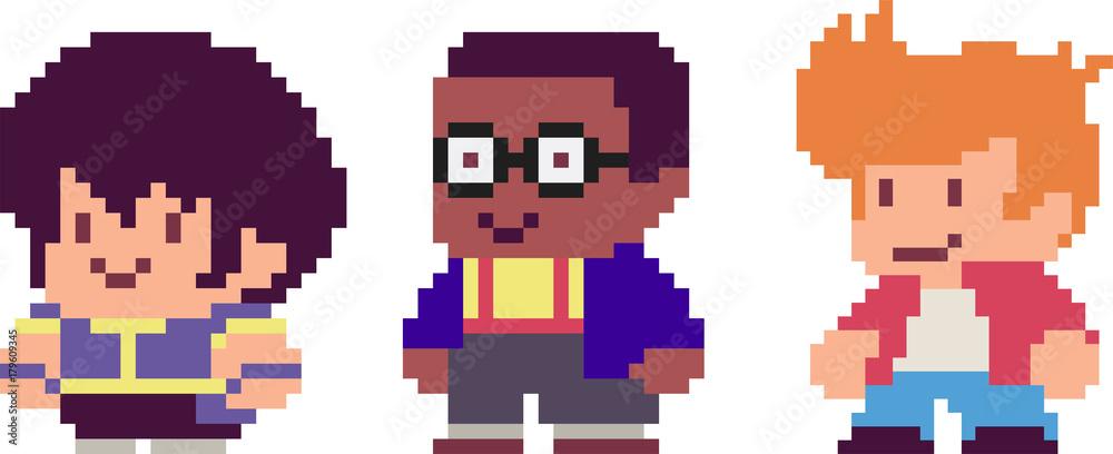Fototapeta Set of pixel characters