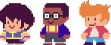 Set Of Pixel Characters