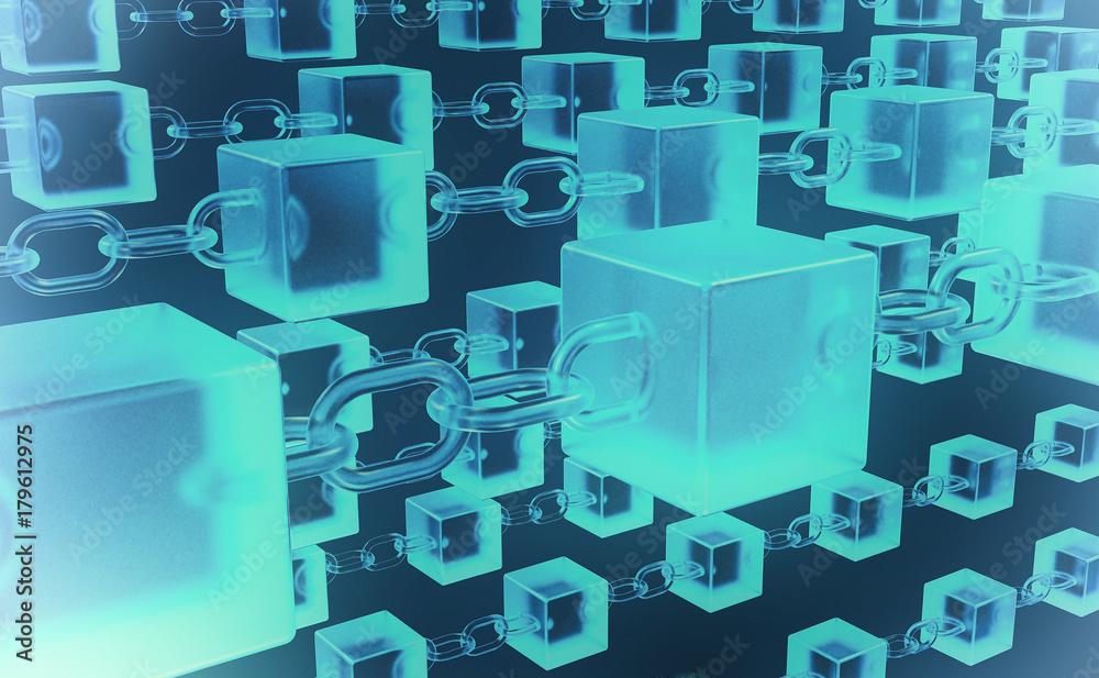 Fototapeta Blockchain Network Architektur mit Ketten und Würfel Darstellung