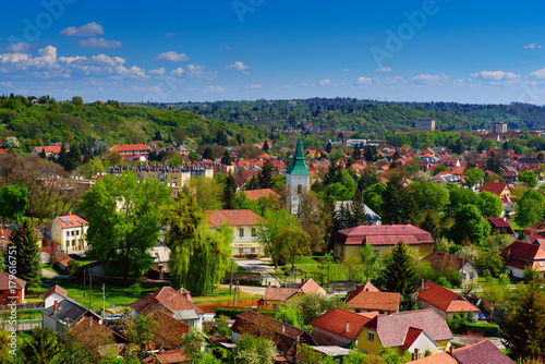 Photo  View to the Miskolc city from the wall of Diosgyor castle, Hungary