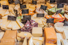 Variety Of Cheese At A Stall InTorvehallerne Indoor Food Market In The Centre Of Copenhagen, Denmark