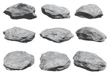 Rocks Set Isolated On White Background.