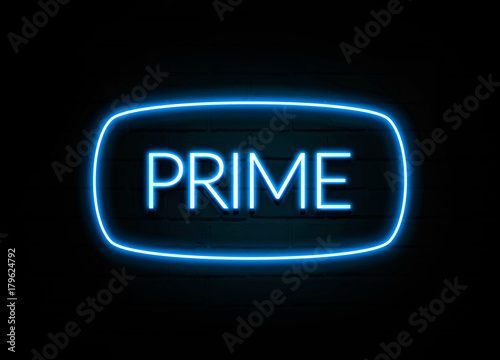 Prime - colorful Neon Sign on brickwall