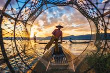 Intha Fishermen At Sunset, Inle Lake,Myanmar