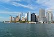 Lower Manhattan skyline as seen from ferry. New York City, USA.