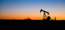 Texas Oil Pump Jack Fracking Crude Extraction Machine Sunset