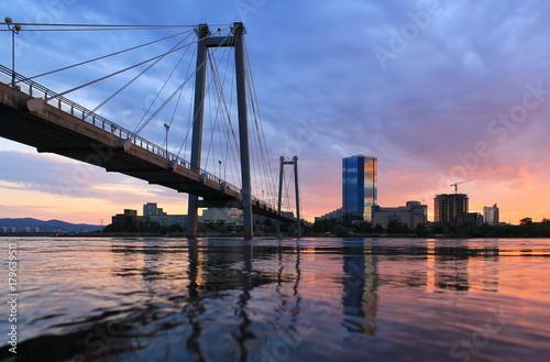 Fototapeta Vinogradovsy bridge in Krasnoyarsk obraz