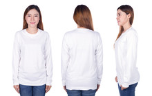 Woman In White Long Sleeve T-s...