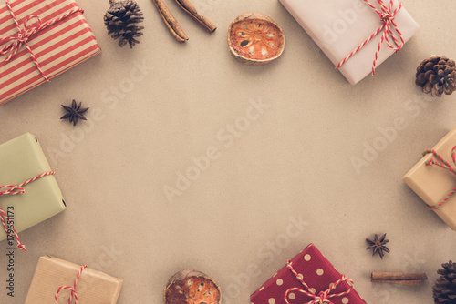 christmas and new year holiday background top view border design with copy space