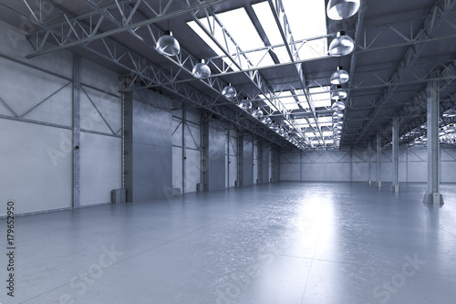 Poster Aeroport empty factory with lamps