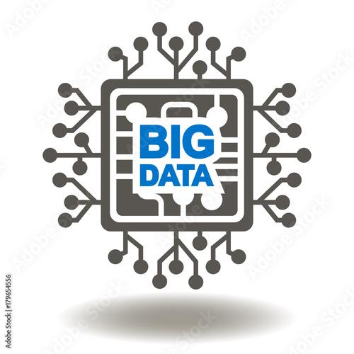 Circuit Board Big Data Text Icon Vector. Microchip Information ...