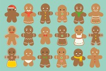 Set Of Different Gingerbread M...