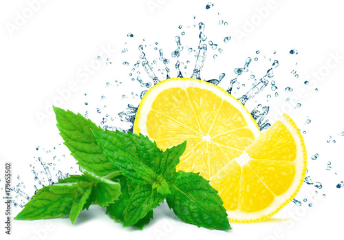 lemon splash water and mint isolated on white background