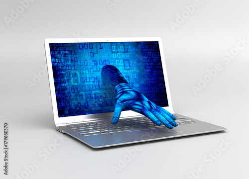 Fototapety, obrazy: Hand is coming out of computer