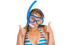 Woman With Snorkeling Mask For...