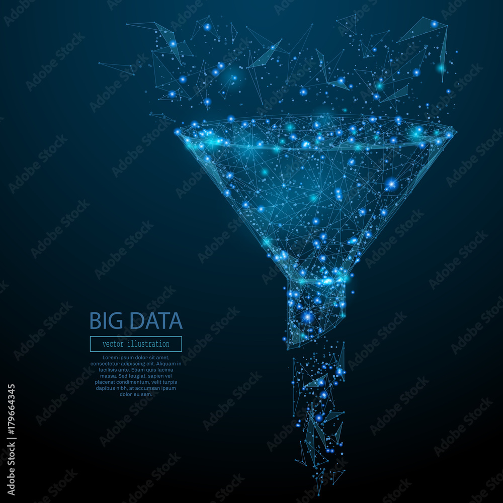 Fototapeta Abstract image of a funnel in the form of a starry sky or space, consisting of points, lines, and shapes in the form of planets, stars and the universe. Vector big data or sales funnel concept.