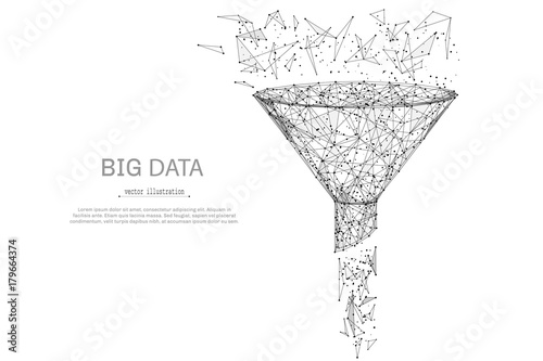 Carta da parati  Funnel low poly wireframe isolated black on white background