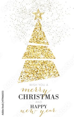 Elegant Christmas Tree, Glitter, Gold Poster