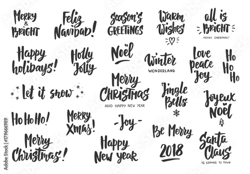 Autocollant pour porte Positive Typography Set of holiday greeting quotes and wishes. Hand drawn text. Great for cards, gift tags and labels, photo overlays, party posters.