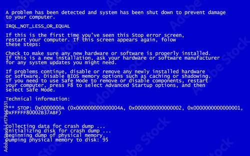 interrupt request level classic blue screen of death (bsod) error