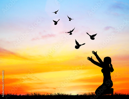 Silhouette Of Bird Flying Into Lady Hand On Beautiful