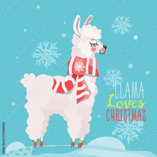 Merry Christmas Funny Card Cute Hand Drawn Llama In
