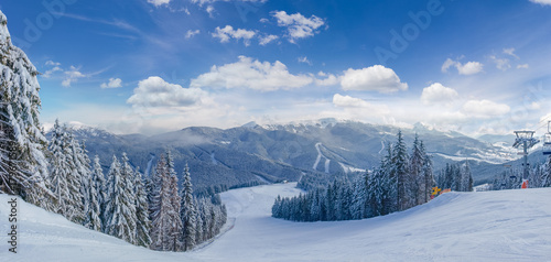 Canvastavla Ski slope among spruce forest on ski resort in Carpathians