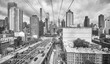 Black and white picture of New York City seen from the cable car to Roosevelt Island, USA.