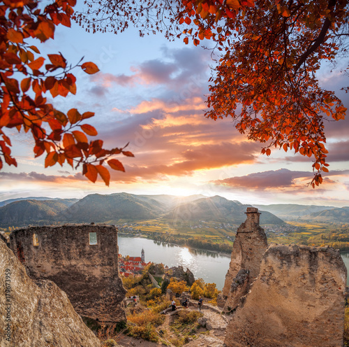 Canvas Prints Cappuccino DUERNSTEIN CASTLE AND VILLAGE WITH DANUBE RIVER DURING AUTUMN IN AUSTRIA