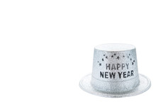 Silver Metallic Happy New Year Party Hat Isolated On White Background, Clipping Path. Copy Space Of Your Text