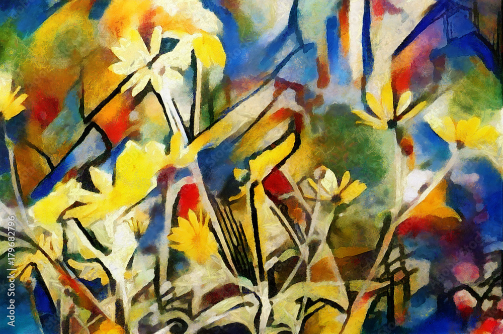 Fototapeta The flowers of the field. Abstraction in modern style with the nature of painting Kandinsky. Executed in oil on canvas with elements of pastel and acrylic painting