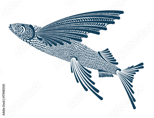 Illustration of a flying fish Wallpaper Mural