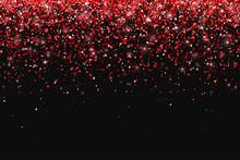 Red Glitter On Black Backgroun...