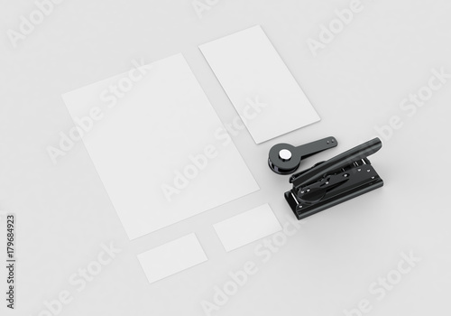 Valokuva  Base white stationery mock-up template for branding identity on gray background for graphic designers presentations and portfolios