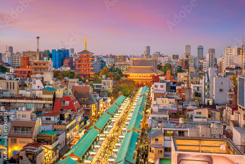 Photo Top view of Asakusa area in Tokyo Japan
