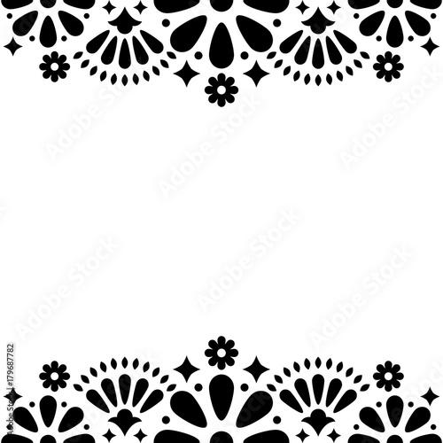 Mexican folk vector wedding or party invitation, floral happy greeting card, bla Slika na platnu