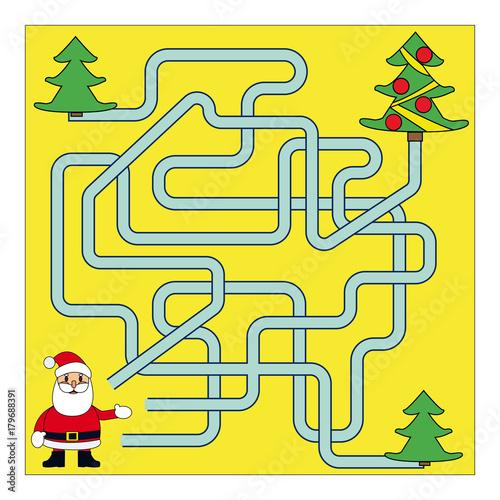 Zdjęcie XXL Funny Christmas Maze Gra: Święty Mikołaj. Ilustracja wektorowa nowego roku