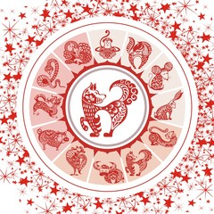 FototapetaZodiac circle with horoscope signs. Thin line vector design. Astrology symbols and mystic signs.