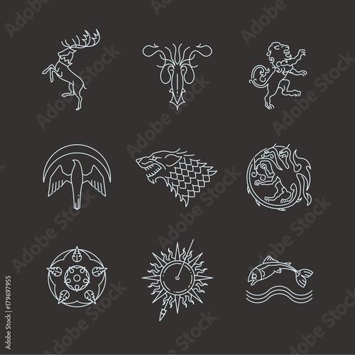 Line heraldic animals gaming thrones symbols Fototapet