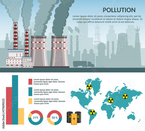 Nuclear power plant vector illustration for background infographics of atomic energy Wallpaper Mural