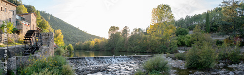 beautiful and colorful river mountain autumn fall season panoramic landscape wit Wallpaper Mural