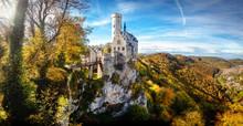 Germany Panoramic View Of Landmark Fairytale Castle/Schloss Lichtenstein In The Schwäbische Alb Region